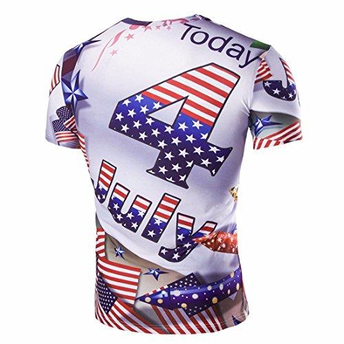 QIYUN.Z Stelle E Strisce Della Bandiera Americana Di Luglio 4 Stampa Uomini Camicetta Camicia A Maniche Corte Foto A Colori