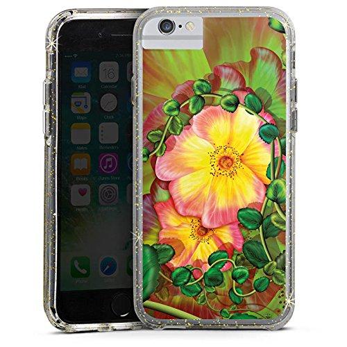 Apple iPhone X Bumper Hülle Bumper Case Glitzer Hülle Flower Blume Efeu Bumper Case Glitzer gold