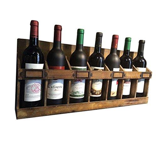 Zth loft retro mensola a muro cremagliera per vino mensola a muro 7 bottiglie di free standing in legno appeso a parete decorazione della parete design vino a+ (dimensioni : 65cm×10.5cm×27.5cm)