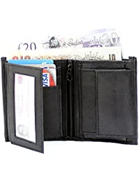 PELLET® Black New Stylish Genuine Leather Wallet With 3 Card Slots, Coin Pocket And 2 ID Slot For Men And Boys