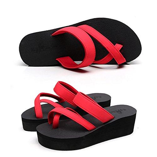 PENGFEI sandali delle donne Flip flop per pantofole Summer Beach Flip flop femminile Fondello spessa Tacchi antiscivolo Pattini freddi Nero, blu e rosso Confortevole e traspirante ( Colore : Rosso , d Rosso