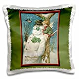 BLN Vintage Christmas Designs - Vintage Christmas Card Snowman with 4-Leaf Clovers and an Angel sitting in a Tree - 16x1
