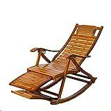 L&J Sillas mecedoras,Portátiles plegables sillas de patio madera maciza silla mecedora silla vieja hombre divanes,Bambú,Carga 150kg,Estable durable sillas reclinables de patio-C