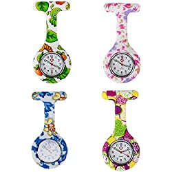 Set of 4 High Quality Brooches / Fobs Watches In Infections Control Silicone Hygienic Protection Covers / Holders With Colourful Patterns / Designs By VAGA
