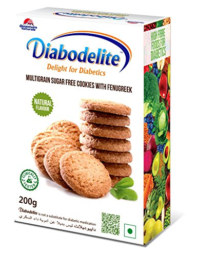 Diabodelite Natural Flavour Multi-Grain Sugar Free Cookies, 200g