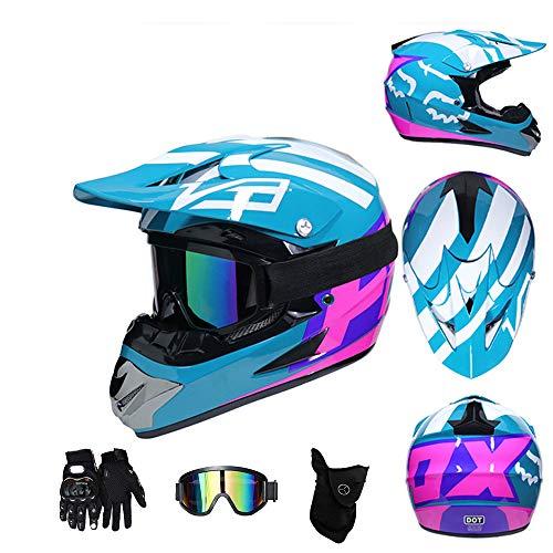 CHUDAN Motocross-Helm Set Männer/Damen, Full Face Motorrad Erwachsene Mopedhelm mit Brille/Handschuhe/Maske DOT-Zertifizierung Für Off Road Helm ATV Dirt Bike Downhill MTB DH,Blue,S (Mädchen Motocross Helm)