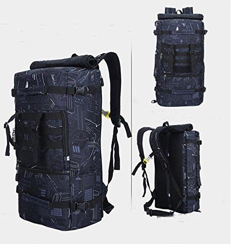 BM Sport borsa all'aperto alpinismo 50L zaino Campeggio escursione Zaino multifunzionale bagagli pacchetto Camo , 1 7
