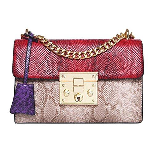 Vodool Patchwork Women Small Shoulder Bags Crossbody PU Chain Handbags/Red