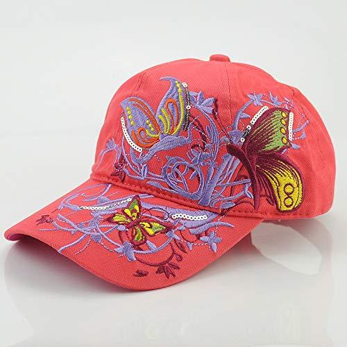 Hop Hip Neue Kostüm - mlpnko Stickerei der weiblichen Kappe des Baseballhutes neues schwarzes Hip-Hop-Visier-Rosenrot justierbar