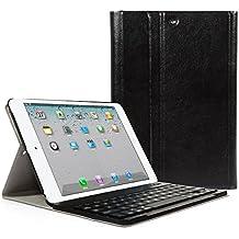 CoastCloud color negro funda Cubierta protectora cuero PU con Teclado Inalambrico QWERTY espanol para iPad air(ipad 5) con Bluetooth