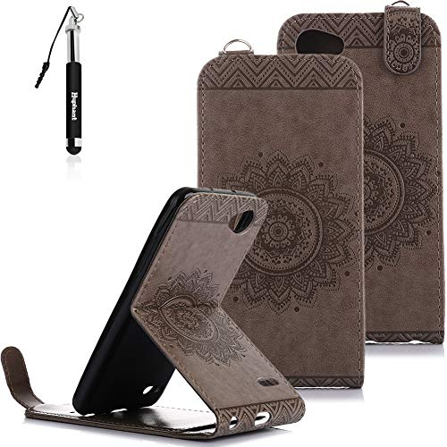 Huphant LG Q6 Hülle, LG Q6 HandyHülle Rosegold Flip Schutzhülle mit Wallet Case Tasche Hülle für LG Q6 Handytasche Stand Kartenfächer Magnet Tasche Flip Cover Wallet Case -Grau Flip Stand