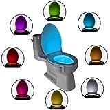 Luz LED iluminación 8colores Water cepillo para inodoro taza baño Sensor Movimiento