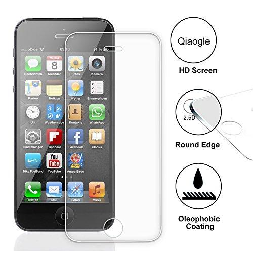Qiaogle Display Gehärtetes Glas Schutzfolie für Apple iPhone 5 / 5G / 5S Schirm Schutz [mit 9H Härte * Ultra klar * Anti-Kratz]