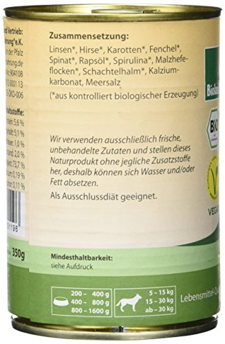 Terra Pura Bio Hundefutter Linsenmahlzeit 350 g, 12er Pack (12 x 350 g) - 5