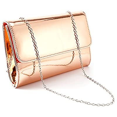 Anladia Metallic Patent Women Clutch Bag Ladies Wedding Prom Evening Bag