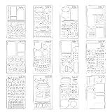 Unicoco Bala Oficial Planner Agenda-de plástico, moldes Journal/Cuaderno/Diario/álbum, hazlo tú Mismo Modelo de diseño de la Agenda-4X 7Pulgadas, 12Piezas