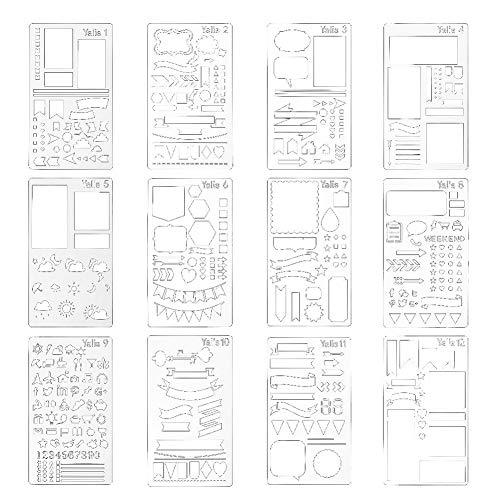 Hemore Bullet Journal Schablone Plastik Planer Schablonen Tagebuch/Tagebuch/Scrapbook DIY Zeichnung Vorlage Schablone 10,2 x 17,8 cm, 12 Stück -