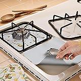 Yongse Gas 4pcs reutilizable de gas de plata del protector del trazador de líneas antiadherente Cocina de quemadores cocina Protectores