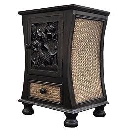 Wilai Petit Meuble de Rangement Bois et rotin, 1 Porte et 1 tiroir, Table de Nuit, Meuble Artisanal fabriquée en…
