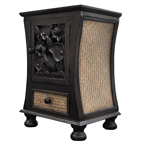 Wilai Petit Meuble de Rangement Bois et rotin, 1 Porte et 1 tiroir, Table de Nuit, Meuble Artisanal fabriquée en Thaïlande (16355)