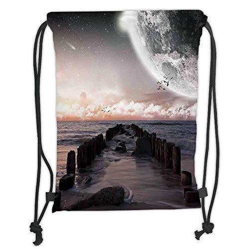 Drawstring Backpacks Bags,Space,Moon Fantasy Planet Beach with Old Pier with Sea Waves Fiction Eclipse Sky Landscape,Pink Blue Soft Satin,5 Liter Capacity,Adjustable String Closure