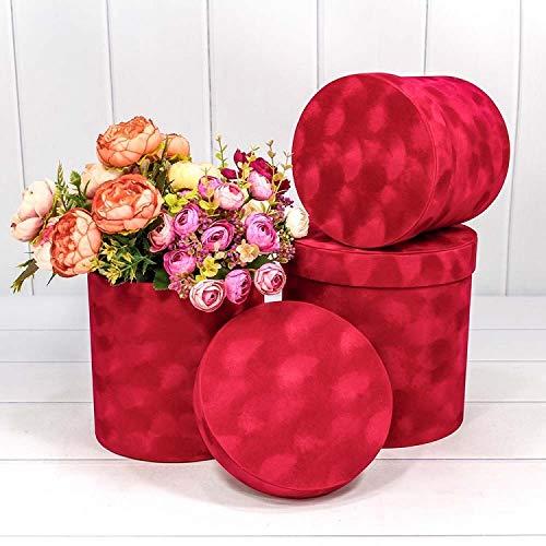 3er Set Blumenschachtel für echte Blumen, Schachtel mit Samt, Kunststoffeinsatz, wasserdichte Blumenbox, Geschenkschachtel (Rot XL) -