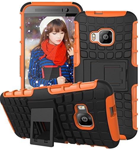 Preisvergleich Produktbild Für HTC M9 Hülle,HTC One M9 Hülle,TPU+PC Schutzhülle,Rüstung Hohe Qualität Schutzhülle Muster Anti-Scratch und Anti-Schock stoßfest Stoßdämpfend Schutz Handy Hülle Case Back Cover Tasche mit Ständer[schwarz+orange]