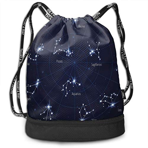 3d9a3dded WCMBY Sports Gym Sack Printed Drawstring Backpacks Bags,Sky Star Map with  Geometric Circle Space