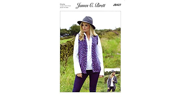 bb9b15c63c56d James C Brett JB427 Knitting Pattern Womens Cardigan and Waistcoat in  Highlander Chunky  Amazon.co.uk  Kitchen   Home
