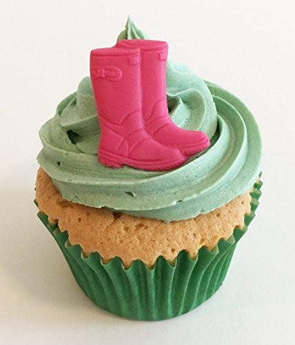 6 Handgemachte Kuchendekorationen aus Zucker: Rosa Wellington Stiefel / 6 Pink Sugar Wellies - Rosa Wellies