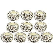 Contever® 10 Charm perline Ciondolo da donna per bracciali PANDORA e simili 8MM - Weiß - Giallo Di Natale Charm