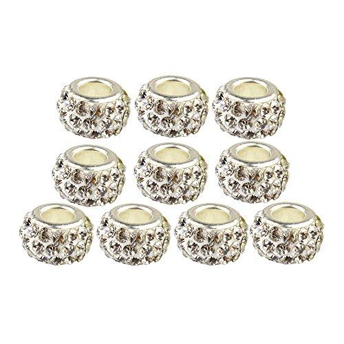 Contever® 10 Beads Glücksbringer Flach Strass Kugeln für Damen Armband - Weiß (Stoff Chunk)