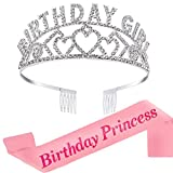 REYOK Birthday Girl Tiara krone Geburtstag Mädchen Glitter Krone Strass Kristall Dekor Stirnband mit Geburtstag Mädchen Schärpe Birthday Girl Schärpe