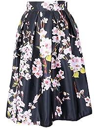 Haililais Femme Jupe ImprimÉEs Tendance Jupe Plissée Vintage Jupe A-Line  ElÉGant Femelle Skirt Taille cb185f16ce81