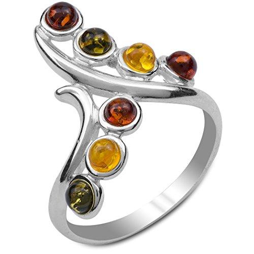 Mehrfarbiger Bernstein Sterling Silber Twig Ring Größe 49 (15.6)