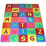 PRINZBERT Buchstaben Puzzlematte 36 Matten 86-tlg. Puzzleteppich Kinder Spielmatte Spielteppich Schaumstoffmatte rutschfest Lernteppich schadstofffrei Spielfläche Lerneffekt ABC Puzzle Moosgummi Eva