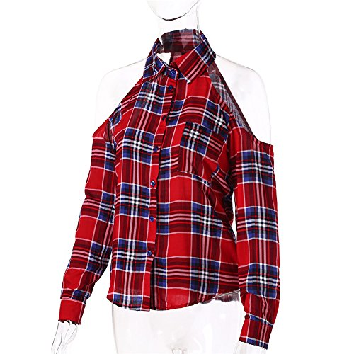 Dioufond Femme Chemise Sexy Epaule Nue Manches Longues Chemisier Shirt Tops Blouse BigRed