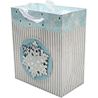 Christmas Sparkling Snowflake Stripes Birthday Party Medium Paper Gift Bag