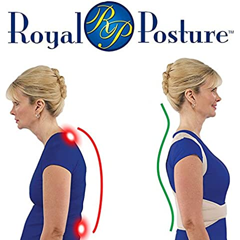 Royal Posture - Soporta y sostiene. Corrige la postura de la espalda y hombros. Nueva faja postural de Soporte para una postura correcta - faja correctora terapéutica para hombros y lumbar - para luchar contra el dolor cervical, dolor lumbar, espalda curvada y dolores musculares - para hombre y mujer - talla