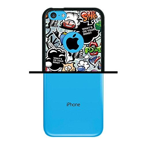iPhone 5C Hülle, WoowCase Handyhülle Silikon für [ iPhone 5C ] Hund Fußabdruck Handytasche Handy Cover Case Schutzhülle Flexible TPU - Transparent Housse Gel iPhone 5C Schwarze D0081