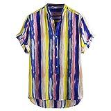Lazzboy Uomo Camicia Top Multicolor Stripes/Color Block Plus Size Graffiti Manica Corta Bottoni Larghi Largo Bluse(L,Yellow-Strisce Ⅱ)