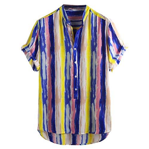 BHYDRY Herren Baumwolle gedruckt Hawaii Stehkragen Kurzarm lose Shirts(X-Large,Gelb