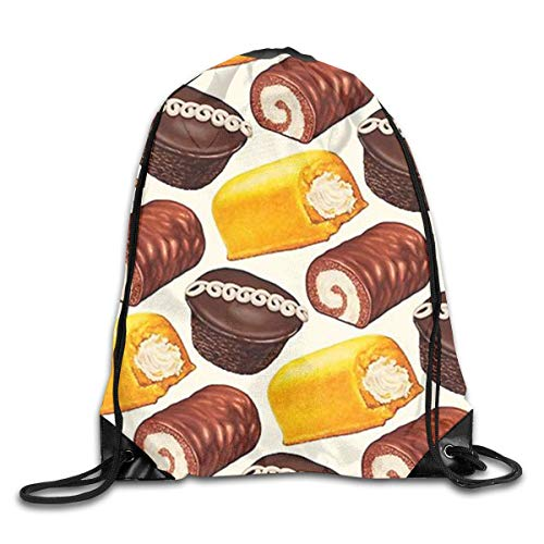 Naiyin Delicious Cake Bread Pattern Drawstring Backpack Bag Rucksack Shoulder Sackpack Sport Gym Yoga Runner Beach Hiking Dance -
