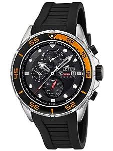 Reloj cronógrafo Lotus 15677/5 de caballero de cuarzo con correa de plástico negra (cronómetro) - sumergible a 100 metros