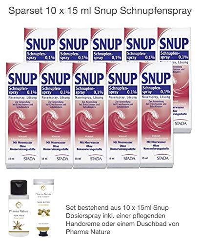 Snup Schnupfenspray Nasenspray 0,1{ab69e53cb9160be5cfe0c8732eeb43a4dc93347568955e18c5886d6a14de8dbe} 15 ml Sparset - 10 x 15 ml inkl. einer pflegenden Handcreme oder Duschbad von Pharma Nature