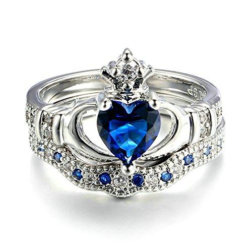KnSam 2 Stücke Damenringe 18k Weißgold Vergoldet Claddagh Ring Krone Herz Saphir Zirkon Eheringe Verlobung Größe 54 (17.2) [Neuheit Ringschmuck]