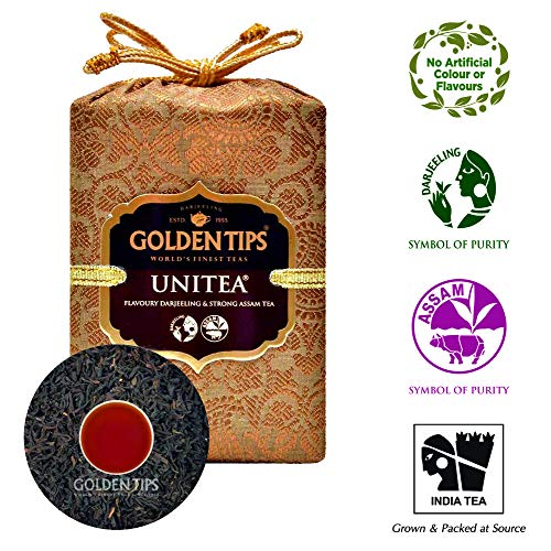 Golden Tips Unitea - Darjeeling & Assam Blend Tea | Brocade Bag 100gm, 50 Cups | 100% Natural Whole Leaf Tea | Antioxidant Rich