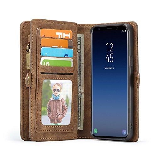 Lobwerk Handyhülle für Samsung Galaxy S9 Plus SM-G965 6.2 Zoll Hülle Flip Case mit Kartenfächern Cover Geldbeutel Etui aus Kunstleder Schutzhülle Tasche Braun