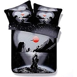 Sticker superb Modern Elegant Schwarz Rot Blau Bettwäsche Set mit Kissenbezug, Süss Paar Liebe Baumwolle Bettbezug Set mit Reißverschluss Mann Frau (Süss Paar-Schwarz, 135_x_200_cm)