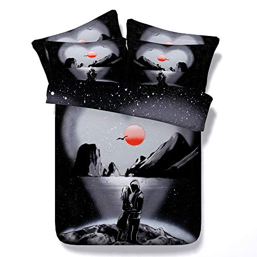 Sticker superb Modern Elegant Schwarz Rot Blau Bettwäsche Set mit Kissenbezug, Süss Paar Liebe Baumwolle Bettbezug Set mit Reißverschluss Mann Frau (Süss Paar-Schwarz, 135_x_200_cm) (Männer Schwarze Süße)